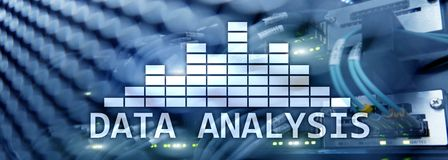 Web site header. Big Data analysis text on server room background. Internet and modern technology concept.  royalty free stock photography