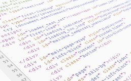 Web site HTML-Codedatenbanksuchroutineansicht über weißen Hintergrund Lizenzfreie Stockfotografie