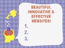 Web site inovativos do texto da escrita da palavra e eficazes bonitos Conceito do negócio para a água atrativa bem cozido dos Web ilustração royalty free