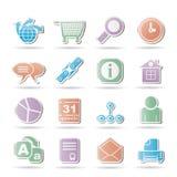 Web site, Internet e iconos de la navegación Imagen de archivo libre de regalías