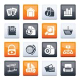 Web Site and Internet icons over color background stock images