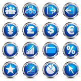 Web Site & Internet Icons - SET THREE. A set of sixteen blue and silver internet icons Stock Photos