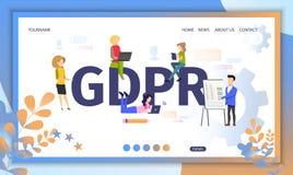 Web site liso do vetor dos regulamentos oficiais de GDPR ilustração royalty free