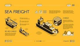 Web site marítimo do vetor do serviço de transporte da carga ilustração stock