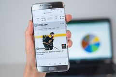 Web site of NHL on phone screen. Barcelona / Spain 06 10 2019: NHL web site on mobile phone screen. Mobile version of NHL company web page on smartphone stock photo