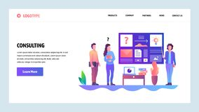 Web site onboarding screens. Business consulting and office meeting presentation. Menu vector banner template for. Website and mobile app development. Modern royalty free illustration