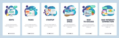 Web site onboarding screens. Business management and software development. Menu vector banner template for website and. Mobile app development. Modern design royalty free illustration