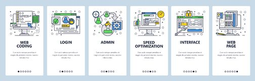 Web site onboarding screens. Coding interface and secure login. Menu vector banner template for website and mobile app. Development. Modern design linear art royalty free illustration
