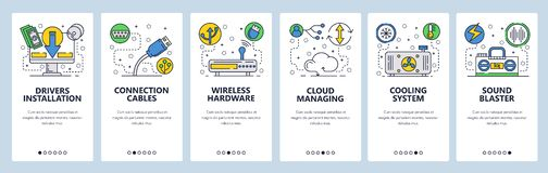 Web site onboarding screens. Computer hardware, cloud services, wireless network and cooling system. Menu vector banner. Template for website and mobile app royalty free illustration