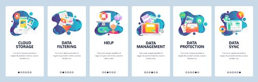Web site onboarding screens. Computer and internet services, cloud storage and data sync. Menu vector banner template. For website and mobile app development vector illustration
