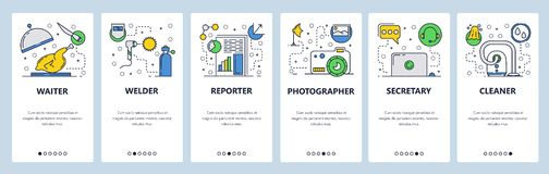 Web site onboarding screens. Different jobs and professions. Menu vector banner template for website and mobile app stock illustration