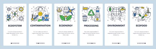 Web site onboarding screens. Ecology and environment contamination, waste recycle, organic food. Menu vector banner. Template for website and mobile app royalty free illustration