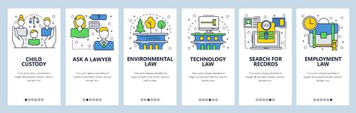 Web site onboarding screens. Family, technology, environmental law, court records. Menu vector banner template for. Website and mobile app development. Modern royalty free illustration