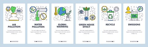 Web site onboarding screens. Global warming, environment pollution and waste recycle. Menu vector banner template for stock image