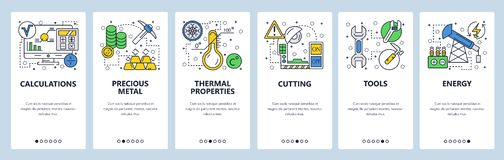 Web site onboarding screens. Hardware tools, precious metal, energy industry. Menu vector banner template for website. And mobile app development. Modern design royalty free illustration