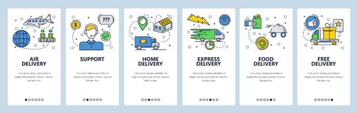 Web site onboarding screens. Home express and air delivery. Menu vector banner template for website and mobile app. Development. Modern design linear art flat royalty free illustration