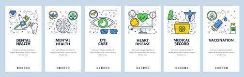 Free Web Site Onboarding Screens. Medical Checkup And Body Health, Vaccination And Medical Records. Menu Vector Banner Stock Images - 135337044