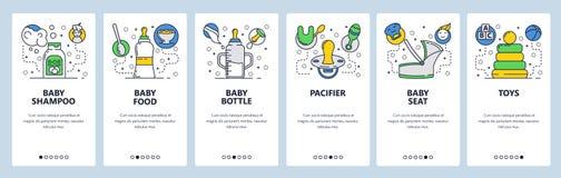 Web site onboarding screens. Nursing newborn baby. Infant food, bottle, toys. Menu vector banner template for website. And mobile app development. Modern design royalty free illustration