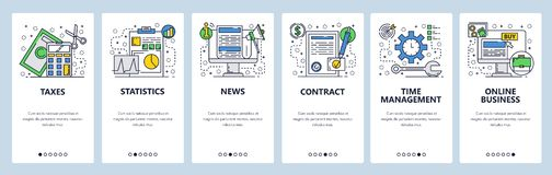 Web site onboarding screens. Online business, taxes, contract and news feed. Menu vector banner template for website and. Mobile app development. Modern design vector illustration