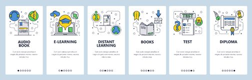 Web site onboarding screens. Online education and e-learning. Books, exams and diploma. Menu vector banner template for. Website and mobile app development royalty free illustration