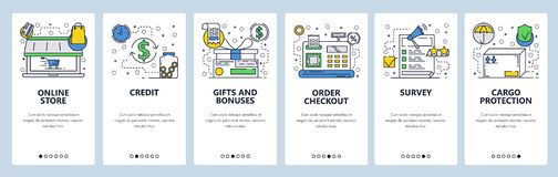 Web site onboarding screens. Online store, cash terminal, review and package delivery icons. Menu vector banner template. For website and mobile app development stock illustration