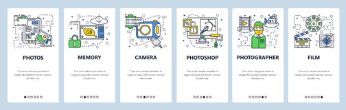 Web site onboarding screens. Photo camera, memory card, photos editing software. Menu vector banner template for website. And mobile app development. Modern vector illustration