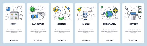 Free Web Site Onboarding Screens. School Education Subjects. Math, Science, Language, History. Menu Vector Banner Template Stock Images - 139372584