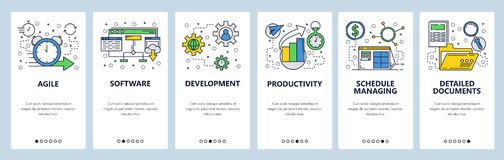 Web site onboarding screens. Software development and team management. Menu vector banner template for website and. Mobile app development. Modern design linear stock illustration