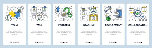 Web site onboarding screens. Task progress and deadline. Menu vector banner template for website and mobile app. Development. Modern design linear art flat royalty free illustration