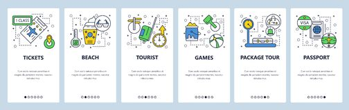 Web site onboarding screens. Travel and beach vacation, passport, visa, tickets. Menu vector banner template for website. And mobile app development. Modern stock illustration