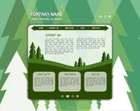 Web site page design template. With trees in flat style stock illustration