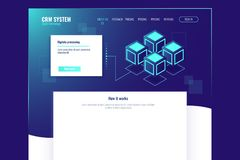 Web site page template, abstract digital technology element, server room, data center database isometric neon vector. Web site page template, abstract digital Stock Photography