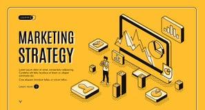 Web site planejando do vetor do serviço da estratégia de marketing ilustração do vetor