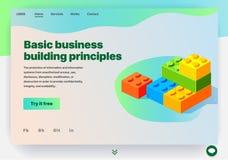 Web site que proporciona o serviço de princípios básicos da construção do negócio ilustração do vetor