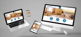 Web site responsivo da sala de registro dos dispositivos do voo fotografia de stock royalty free