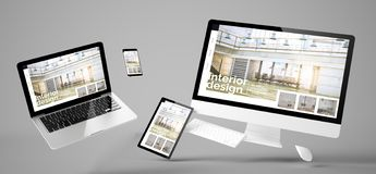 Web site responsivo de voo do design de interiores dos dispositivos imagem de stock royalty free