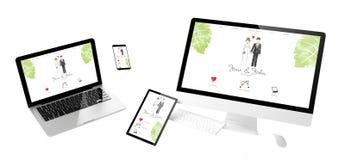Web site responsivo do casamento dos dispositivos do voo ilustração do vetor