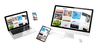 Web site responsivo do portfólio dos dispositivos do voo imagem de stock