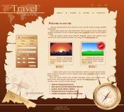 Web site rojo del vector para la agencia de viajes stock de ilustración