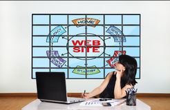 Web site scheme on screen Royalty Free Stock Photo