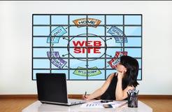 Web site scheme on screen Royalty Free Stock Photo