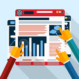 Web site seo analytics charts on screen of PC royalty free illustration