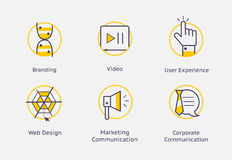 Web Site simple icons with yellow Stock Photos