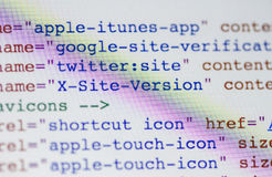 Web site software code. On the screen Royalty Free Stock Image