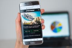 Web site of Star Wars on phone screen royalty free stock photography