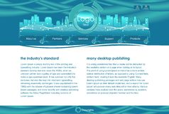 Web site template. Website blue glass template web 2.0