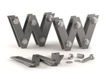 Web site under construction - bolts. Concept of web site under construction with metal letters and bolts Stock Image