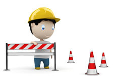 Web site under construction! Social 3D characters. Man on the road by the barrier and under construction cones. New constantly growing collection of expressive vector illustration