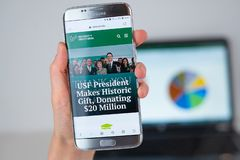 Web site of University of South Florida on phone screen. Barcelona / Spain 06 10 2019: University of South Florida web site on mobile phone screen. Mobile stock image