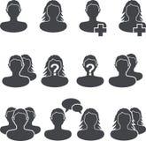 Web site user black ans white icon set. Royalty Free Stock Images